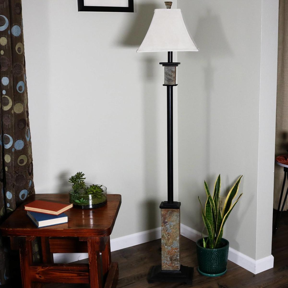 indoor floor lamps torchiere indoor casl brands indoor floor lamp with metal and slate base fabric lampshade 60inch