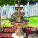 Sunnydaze Flower Blossom Outdoor Electric 3-Tier Water Fountain, 43 Inch Tall