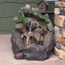 Sunnydaze Tree Trunk on Rocks Outdoor Water Fountain with LED Light, 24 Inch Tall
