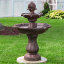 Sunnydaze Two Tier Solar-on-Demand Outdoor Water Fountain, Rust Finish, 35 Inch Tall