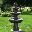 Sunnydaze 4-Tiered Pineapple Electric Outdoor Water Fountain, Black, 52 Inch Tall