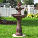 Sunnydaze Two-Tier Pineapple Solar-on-Demand Fountain, Rust Finish, 46 Inch Tall