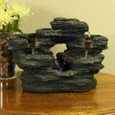Sunnydaze Two Stream Rock Tabletop Fountain with LED Lights, 9 Inch Tall