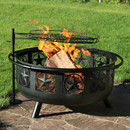 Sunnydaze 30 Inch Black All Star Fire Pit with Cooking Grate and Spark Screen