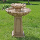 Sunnydaze Beveled Flower 2-Tier Birdbath Water Fountain, 28 Inch Tall