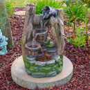 Sunnydaze Outdoor Wishing Well with Cascading Buckets Water Fountain with LED Lights, 19 Inch Tall