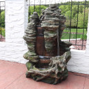 Sunnydaze Flat Rock Summit Large Outdoor Waterfall Fountain with LED Lights, 61 Inch Tall