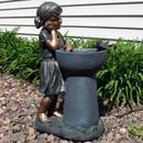 Little Girl Admiring Water Spout Outdoor Garden Water Fountain, Outdoor