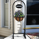 Sunnydaze Outdoor Hanging Basket Planter Stand with Metal Welcome Sign, 45 Inch Tall