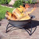 Sunnydaze Small Dark Gray Wood-Burning Cast Iron Fire Pit Bowl with Stand, 24 Inch Diameter