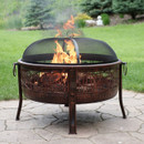 Sunnydaze Northwoods Fishing Fire Pit, 30-Inch Diameter, with Spark Screen