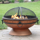 Sunnydaze Royal Cauldron Fire Pit, Copper Look, 30-Inch Firebowl with Handles and Spark Screen