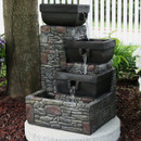 Sunnydaze 4-Tier Stacked Stone Square Bowls Outdoor Water Fountain with LED Lights, 22-Inch Tall