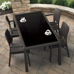 Miami Wickerlook Rectangle Dining Set 5 Piece