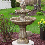 Sunnydaze Two Tier Solar on Demand Outdoor Water Fountain, Earth Finish, 35 Inch Tall, Includes Battery Pack