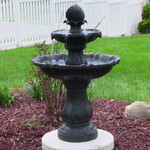 Sunnydaze Two Tier Solar-on-Demand Outdoor Water Fountain, Black Finish, 35 Inch Tall