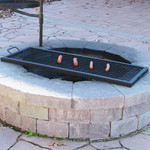 Sunnydaze X-Marks Rectangle Fire Pit Cooking Grill