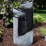 Sunnydaze Dark Gray Stone Pillar & Silver Bowls Solar on Demand Fountain, 27 Inch Tall