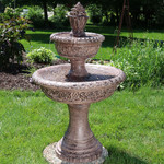 Sunnydaze Floral Tiered Solar on Demand Outdoor Water Fountain, 40 Inch Tall, Includes Battery Pack