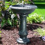 Sunnydaze Oasis Solar on Demand Outdoor Bird Bath Water Fountain, 26 Inch Tall, Includes Battery Pack