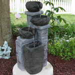 Sunnydaze Cascading Stone Bowls Solar on Demand Water Fountain with LED Light