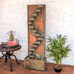 Sunnydaze Descending Staircase Slate Outdoor Water Fountain with Copper Accents and LED Spotlight