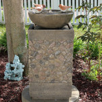 Sunnydaze Three Bathing Birds Outdoor Birdbath Water Fountain with LED Light, 25 Inch Tall, Includes Electric Pump