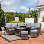 Sunnydaze Aurelia 5-Piece Wicker Rattan Sofa Dining Patio Furniture Set