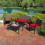 Sunnydaze Kula 4-Piece Wicker Rattan Patio Furniture Lounger Set with Red Cushions
