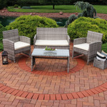 Sunnydaze Lomero 4-Piece Lounger Patio Furniture Set with Brown Wicker Rattan and Beige Cushions