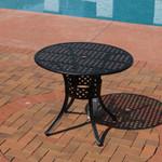 Sunnydaze Black Cast Aluminum Round Dining Table, 33-Inch