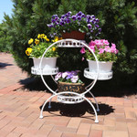Sunnydaze 4-Tier Ferris Wheel Indoor/Outdoor Plant and Flower Stand, 28 Inch Tall
