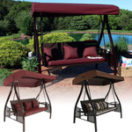 Sunnydaze Deluxe Steel Frame Cushioned Garden Swing with Canopy and Side Tables, 3-Person, for Patio or Yard