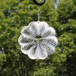 Sunnydaze 3D Silver Sun Wind Spinner with Hook, 6-Inch