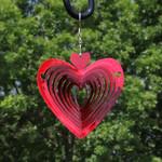 Sunnydaze 3D Heart Whirligig Wind Spinner with Hook, 6-Inch