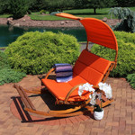 Sunnydaze Outdoor Wooden Rocking Cushioned Loveseat with Footrest and Canopy, Burnt Orange
