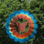 """Sunnydaze 12"""" Reflective 3D Whirligig Butterfly Wind Spinner with Hook"""
