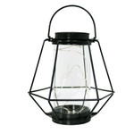 Sunnydaze 9-Inch Outdoor Diamond Design Caged Solar Lantern with 10 Warm White LED Lights