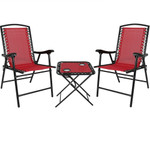 Sunnydaze Outdoor Suspension Folding Patio Chairs with Side Table, Set of 2 for Indoor or Outdoor Use
