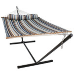 Sunnydaze 2 Person Freestanding Quilted Fabric Spreader Bar Hammock, Choose from 12 or 15 Foot Stand, Ocean Isle