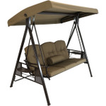 Sunnydaze 3-Person Steel Frame Outdoor Adjustable Tilt Canopy Patio Swing with Side Tables, Cushions and Pillow