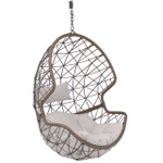 Sunnydaze Danielle Hanging Egg Chair, Resin Wicker Basket Design, Indoor or Outdoor Use, Includes Cushion