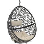 Sunnydaze Caroline Hanging Egg Chair, Resin Wicker, Modern Design, Indoor or Outdoor Use, Includes Cushion