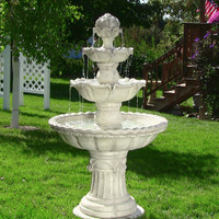 Sunnydaze Four-Tier White Electric Water Fountain with Fruit Top, 52 Inch Tall