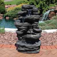 Rock Falls Electric Waterfall Fountain with LED Lights