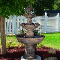 Sunnydaze Mediterranean 4-Tiered Outdoor Water Fountain, with Electric Submersible Pump, 49 Inch Tall