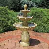 Sunnydaze Classic Tulip 3 Tiered Outdoor Water Fountain, Garden Stone, 46 Inch Tall