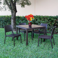 Miami Wickerlook Square Dining Set (Five Pieces)