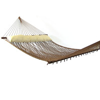 Sunnydaze 2 Person Polyester Rope Hammock with Spreader Bars and Pillow, Brown, 400 Pound Capacity