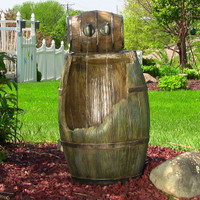 Sunnydaze Old Time Saloon Barrel Outdoor Water Fountain with LED Lights, 31 Inch Tall